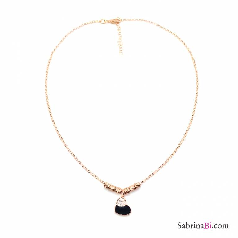 Collana rondelle argento 925 oro rosa Black Heart