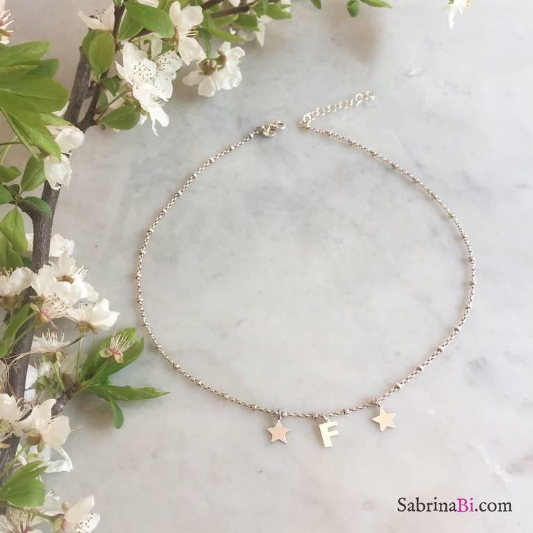 Collana rosario argento 925 lettera e stelle