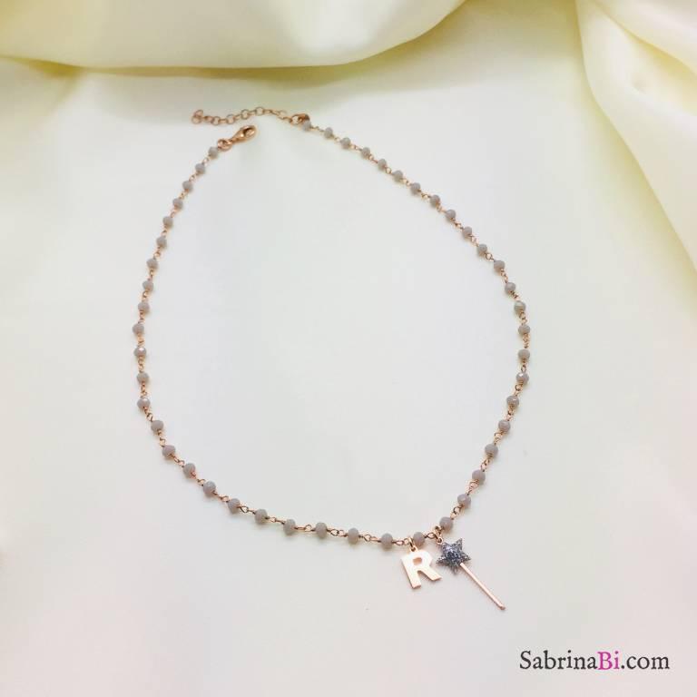 Collana rosario argento 925 oro rosa Agata grigia Bacchetta glitter e lettera