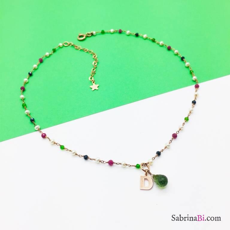 Collana rosario argento 925 oro rosa Giada e lettera
