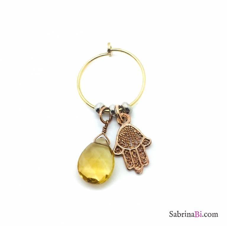 Mono orecchino cerchio argento 925 oro giallo Quarzo citrino