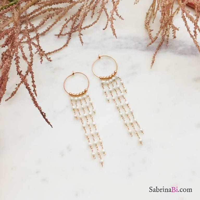 Orecchini a cerchio argento 925 oro rosa cascata di Perle #1