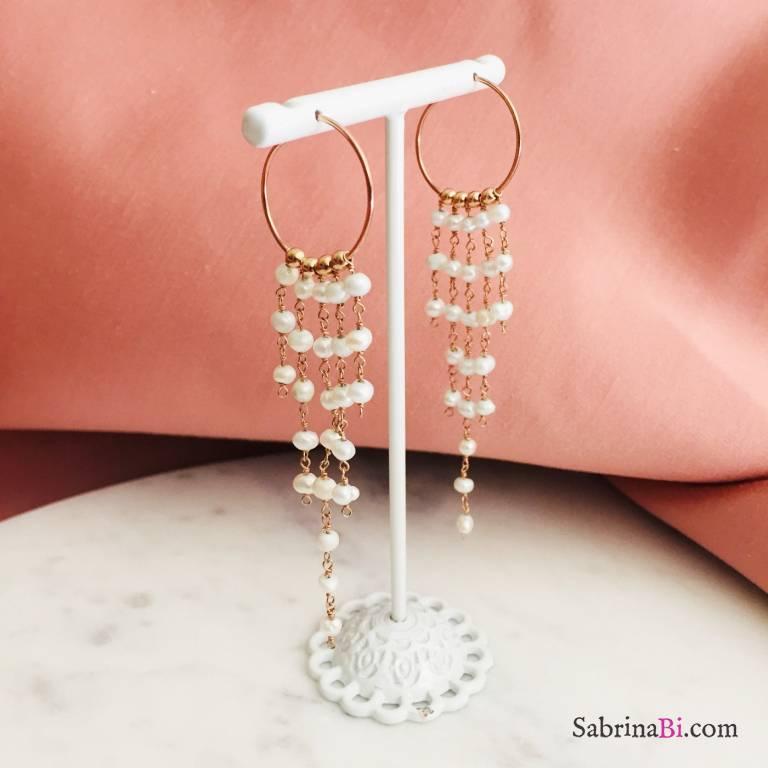 Orecchini a cerchio argento 925 oro rosa cascata di Perle #2