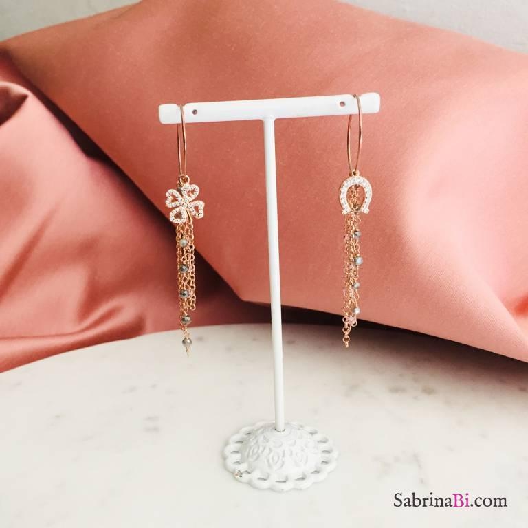 Orecchini a cerchio argento 925 oro rosa Quadrifoglio e Ferro di cavallo