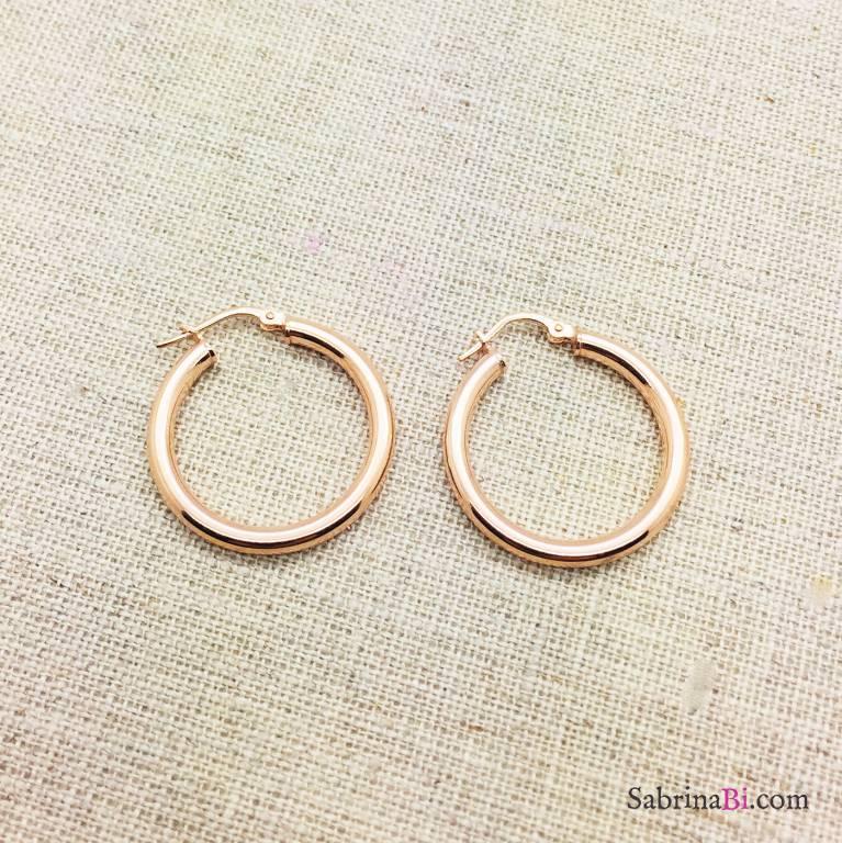 Orecchini a cerchio medi argento 925 oro rosa