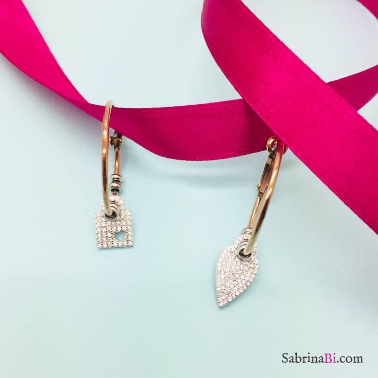 Orecchini a cerchio medio argento 925 oro rosa Cuore e lucchetto