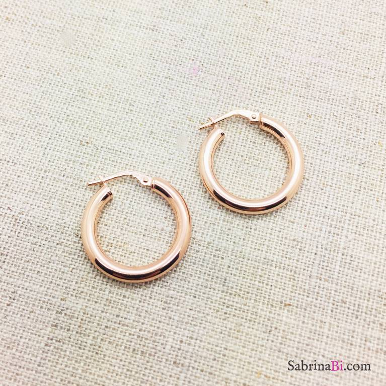 Orecchini a cerchio piccoli argento 925 oro rosa