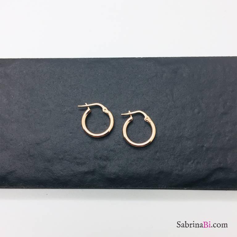 Orecchini a cerchio slim argento 925 oro rosa diametro 1,4