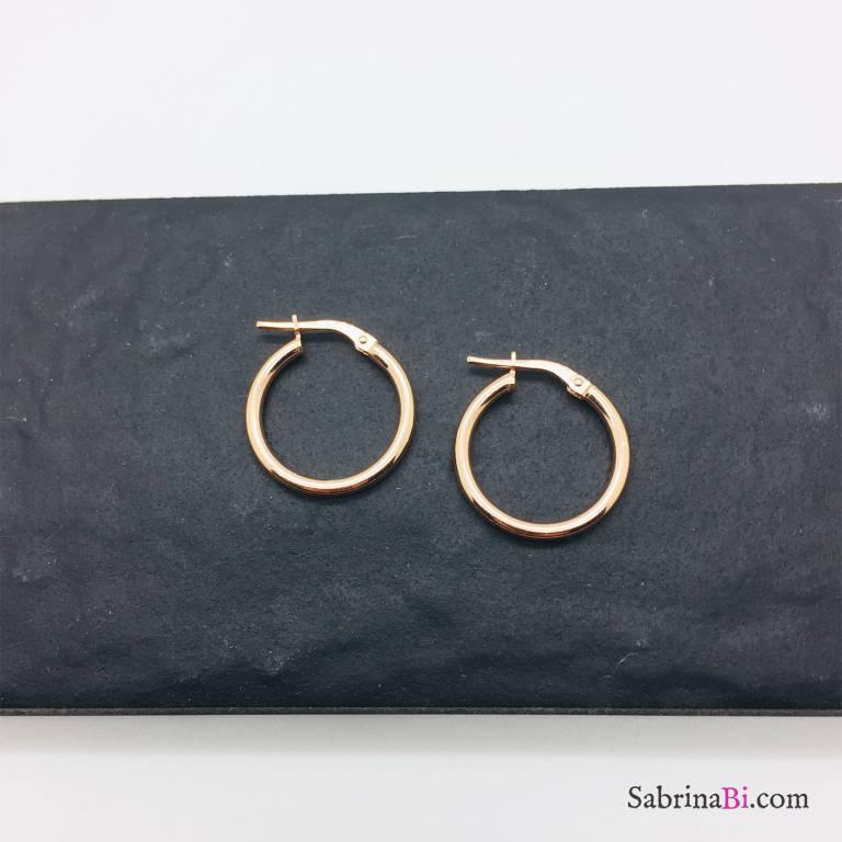 Orecchini a cerchio slim argento 925 oro rosa diametro 1,9
