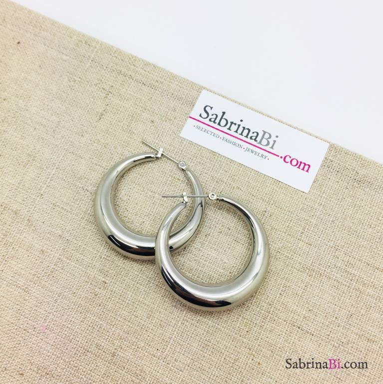 Orecchini a cerchio spessi in acciaio inox misura grande argento