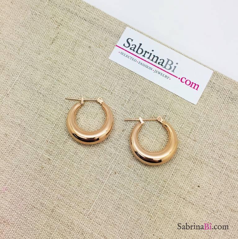 Orecchini a cerchio spessi in acciaio inox misura piccola oro rosa