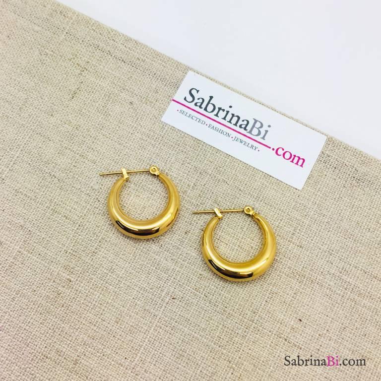 Orecchini a cerchio spessi in acciaio inox misura piccola oro