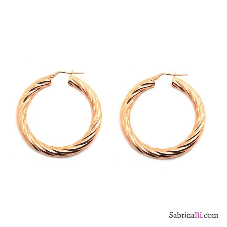 Orecchini a cerchio torchon grandi argento 925 oro rosa