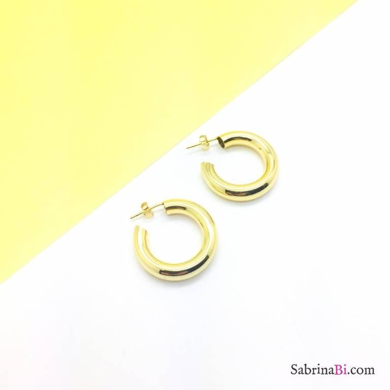 Orecchini a cerchio tubolare argento 925 oro giallo