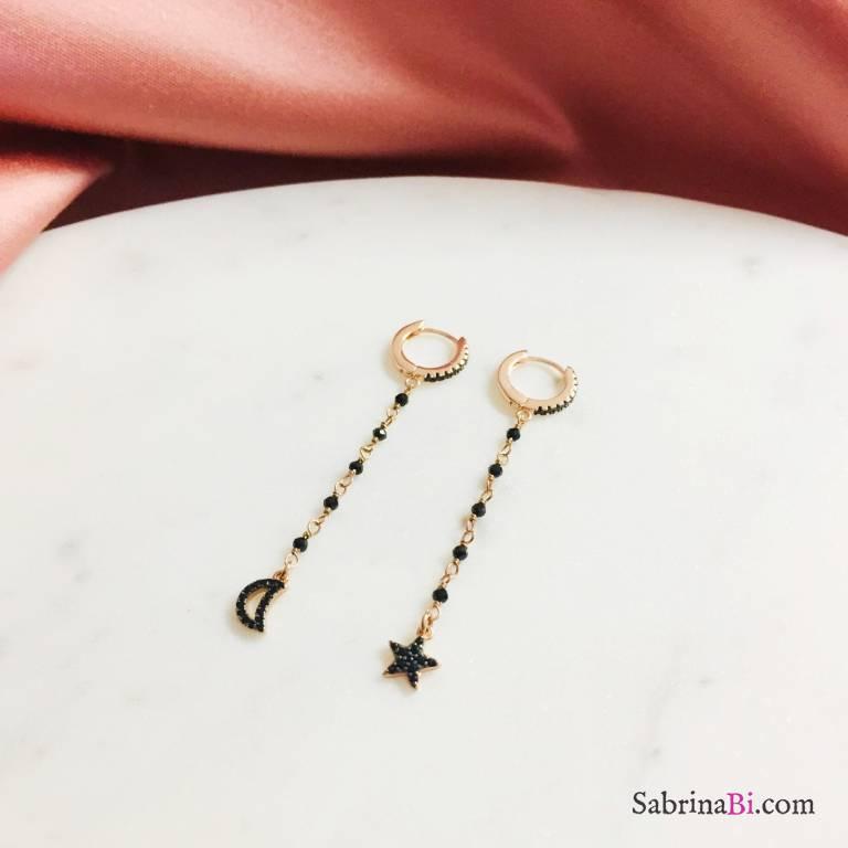 Orecchini a cerchio zirconato argento 925 oro rosa rosario nero Luna Stella