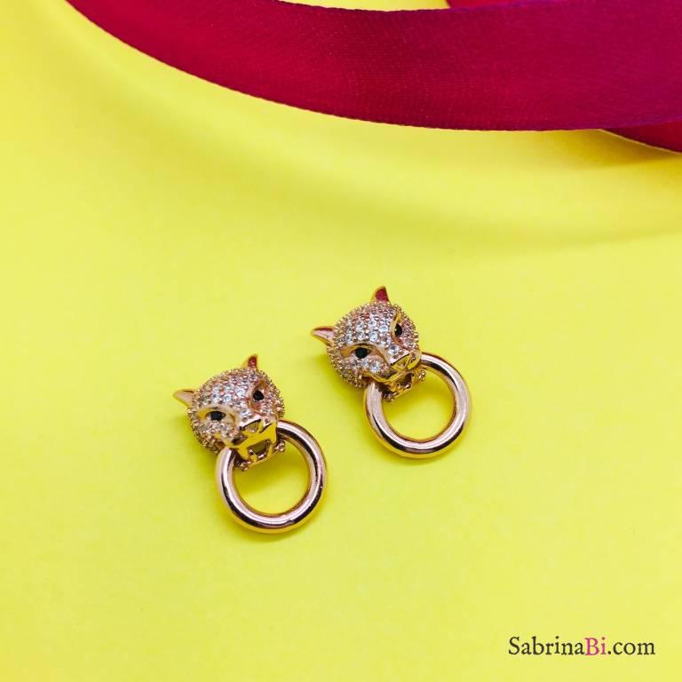 Orecchini a lobo argento 925 oro rosa Panther con anello