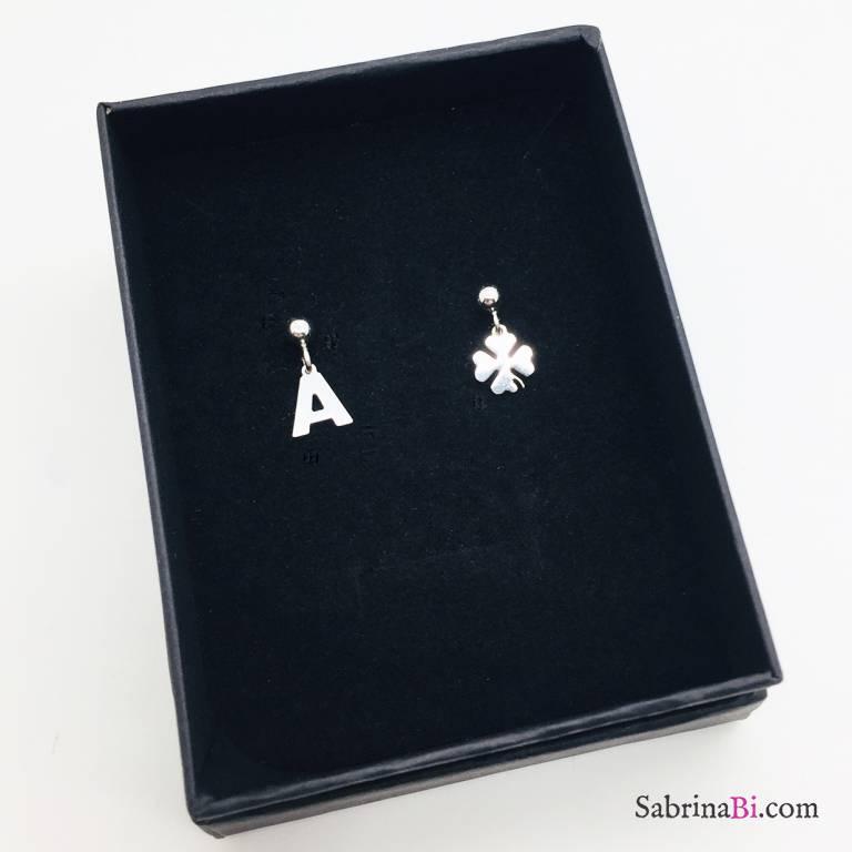 Orecchini argento 925 Lettera e quadrifoglio