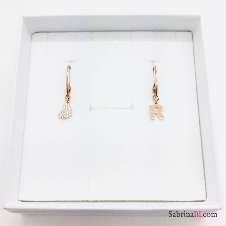 Orecchini argento 925 oro rosa Cuore Zirconi e lettera