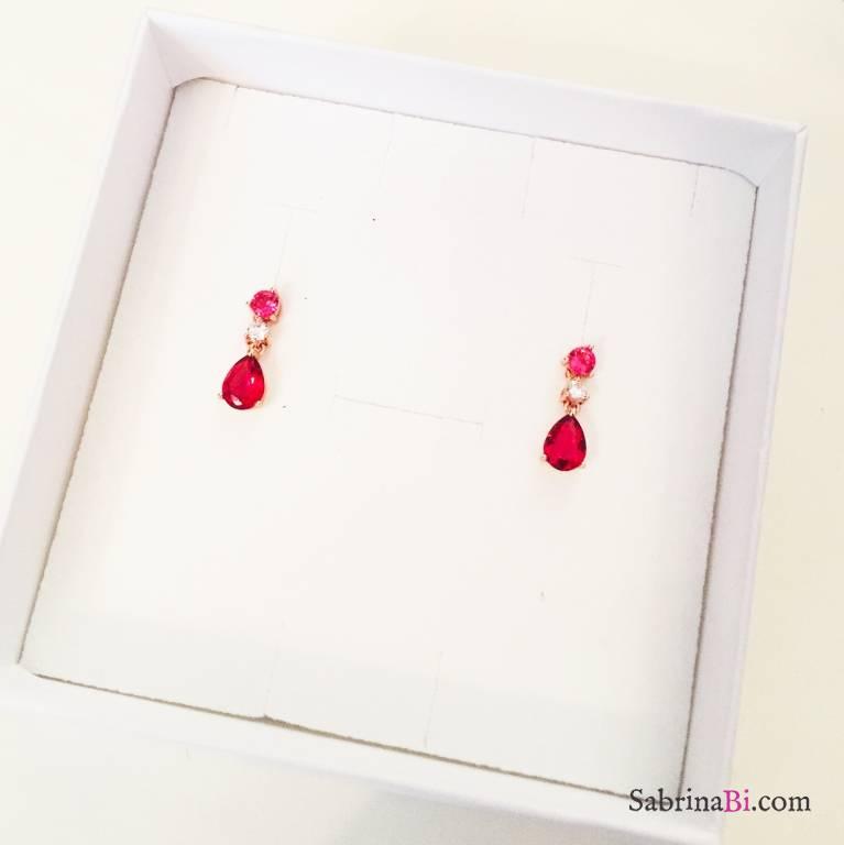 Orecchini argento 925 oro rosa Drops ruby