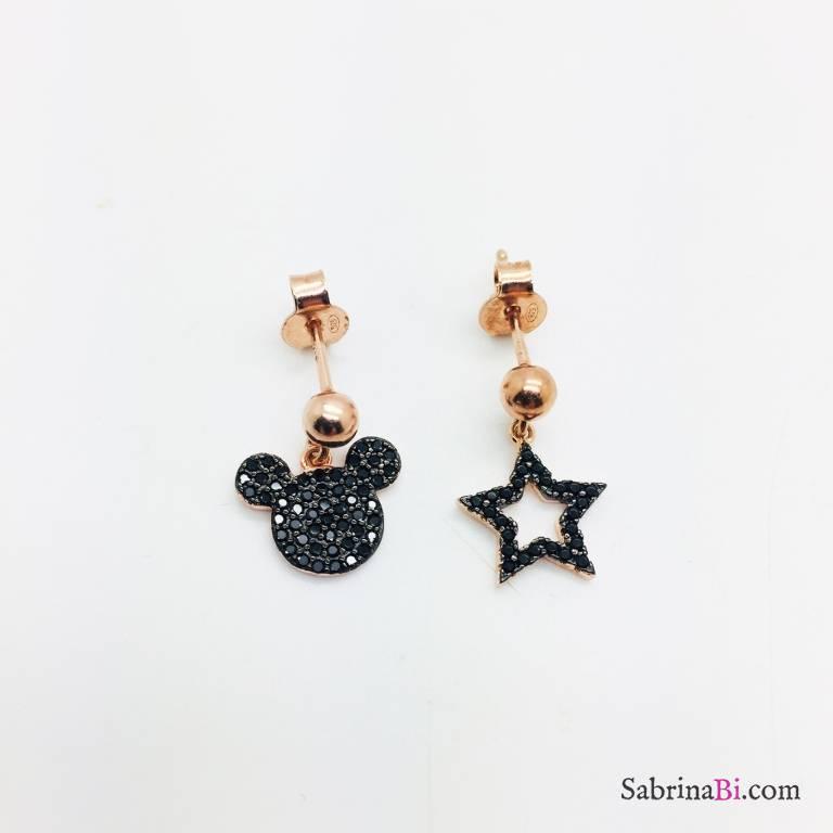 Orecchini argento 925 oro rosa Topolino e stella