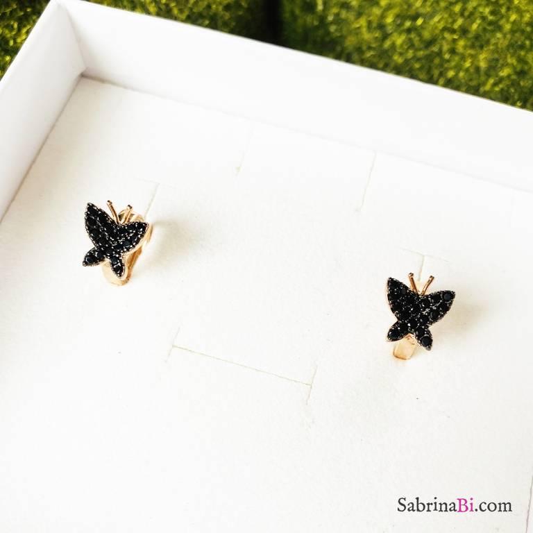 Orecchini cerchio argento 925 oro rosa Butterfly