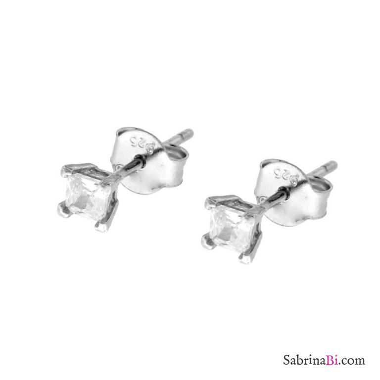 Orecchini lobo argento 925 punto luce quadrato Zircone mm 3