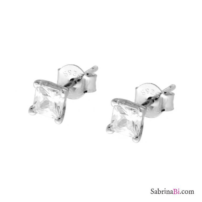 Orecchini lobo argento 925 punto luce quadrato Zircone mm 4
