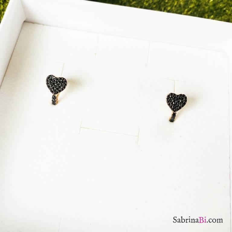 Orecchini mini cerchio argento 925 oro rosa Black love