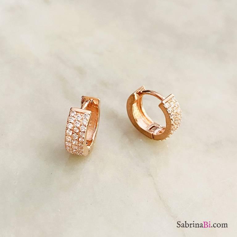 Orecchini mini cerchio argento 925 oro rosa tripla fila Zirconi