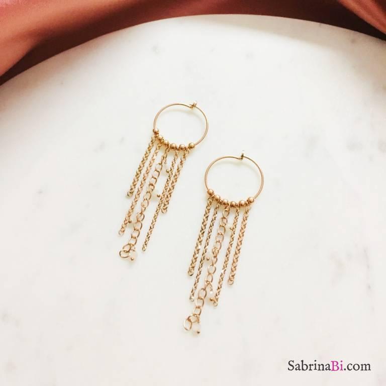 Orecchini pendenti argento 925 oro rosa con catene e Pietra di Luna