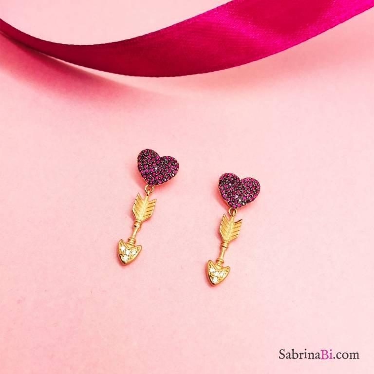 Orecchini pendenti argento 925 oro rosa Freccia Cupido