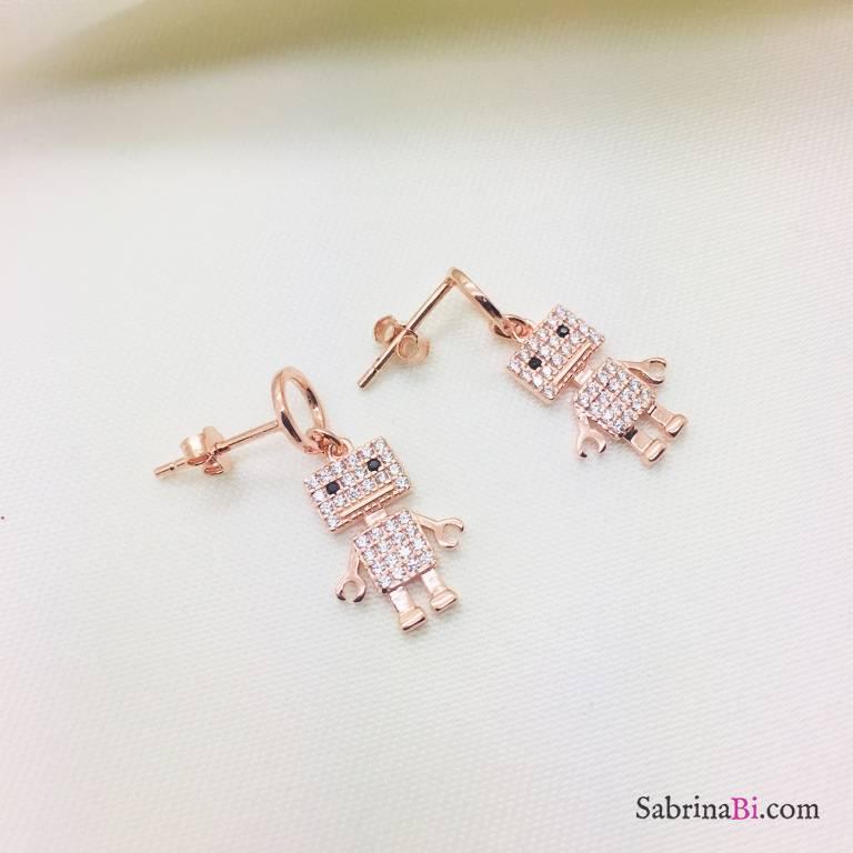 Orecchini pendenti argento 925 oro rosa Robot Zirconi