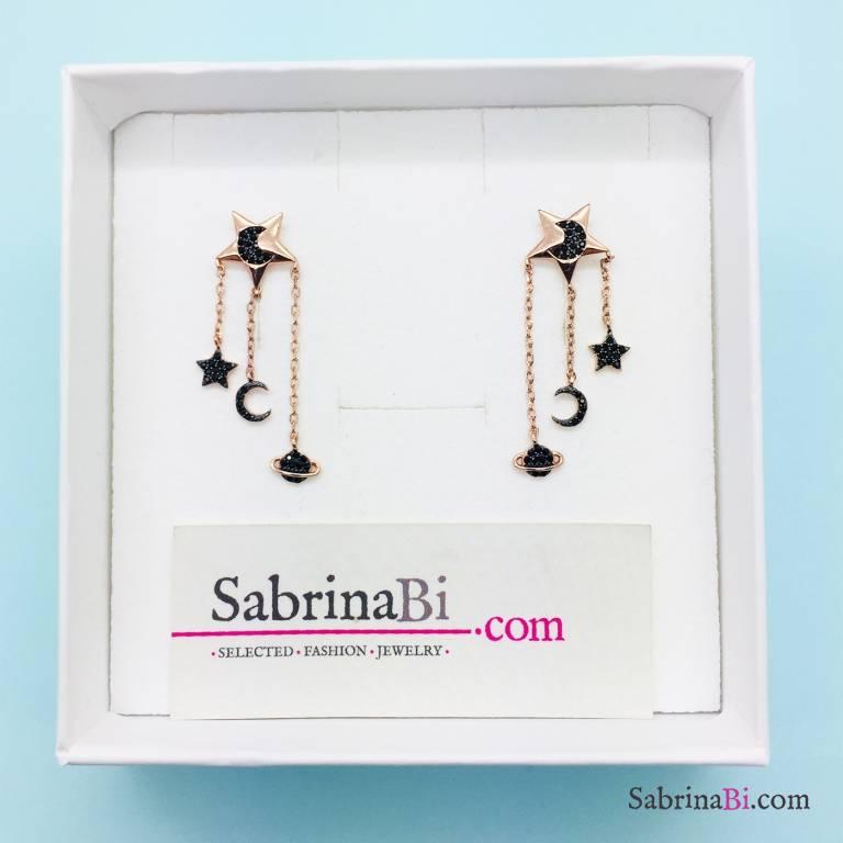 Orecchini pendenti argento 925 oro rosa Via Lattea