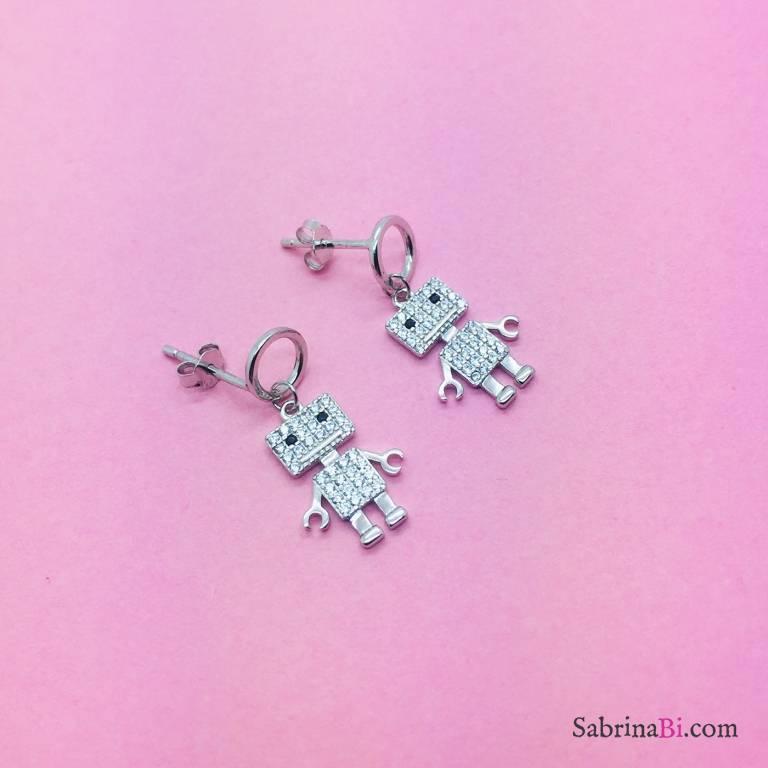 Orecchini pendenti argento 925 Robot Zirconi