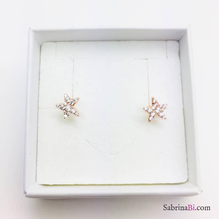 Orecchini stella marina Zirconi a lobo argento 925 oro rosa