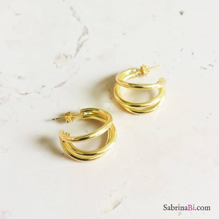 Orecchini triplo cerchio argento 925 oro giallo