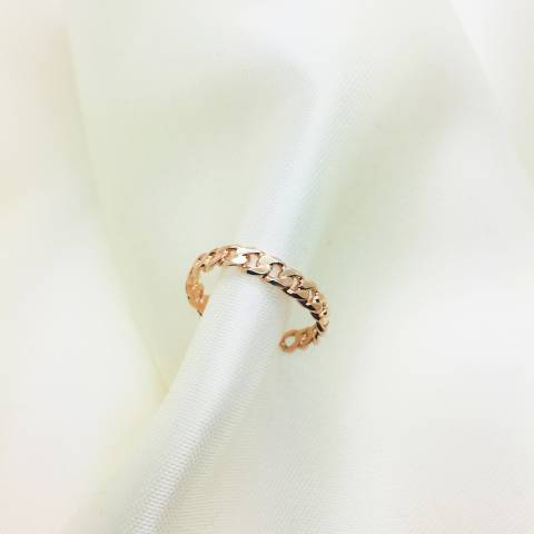 Anello argento 925 oro rosa fedina groumette