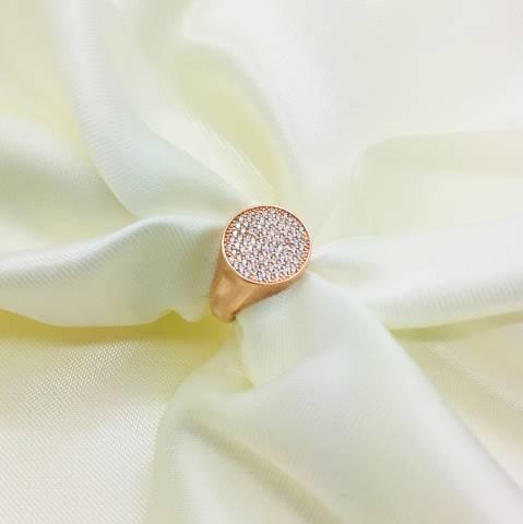 Anello Chevalier argento 925 oro rosa pavè Zirconi