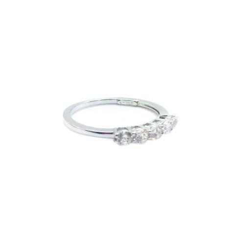Anello fedina argento 925 5 Zirconi