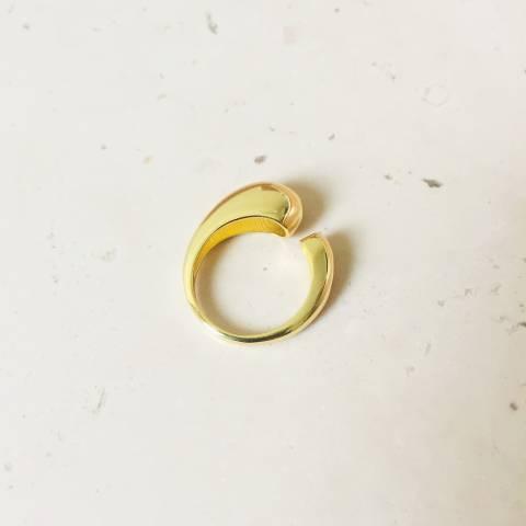Anello open Water drop argento 925 oro giallo