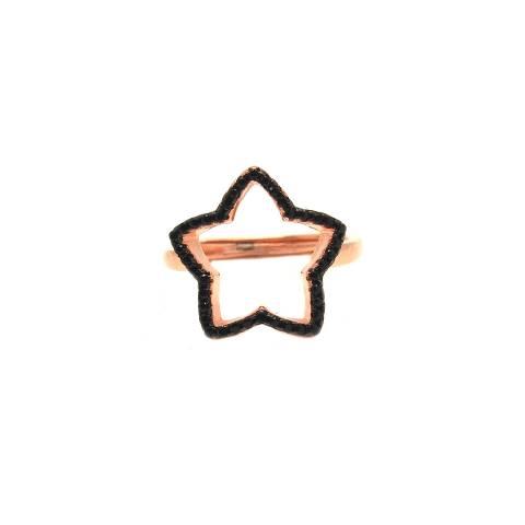 Anello regolabile argento 925 oro rosa stella Zirconi neri