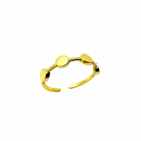 Anello regolabile cerchi argento 925 oro