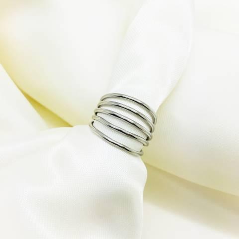 Anello regolabile fascia multifili argento 925