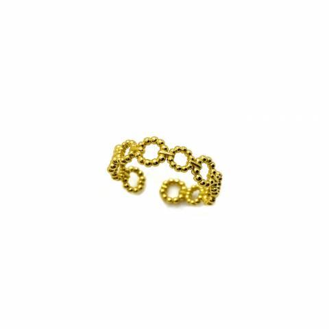Anello regolabile ghirlanda argento 925 oro