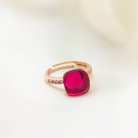 Anello regolabile Zirconato argento 925 oro rosa Nudo rosso