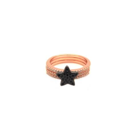 Anello tripla fedina argento 925 oro rosa Stella Zirconi neri tg.16