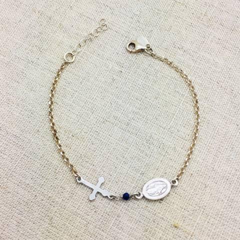 Bracciale argento 925 Madonnina e Croce