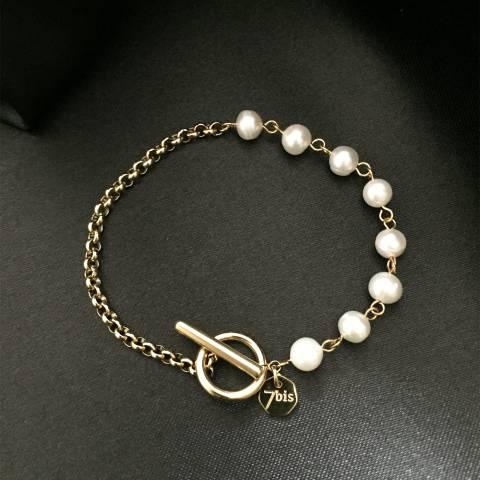 Bracciale catena oro e perle chiusura a T