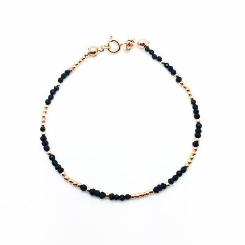 Bracciale micro Spinelli neri tondi e perline argento 925 oro rosa