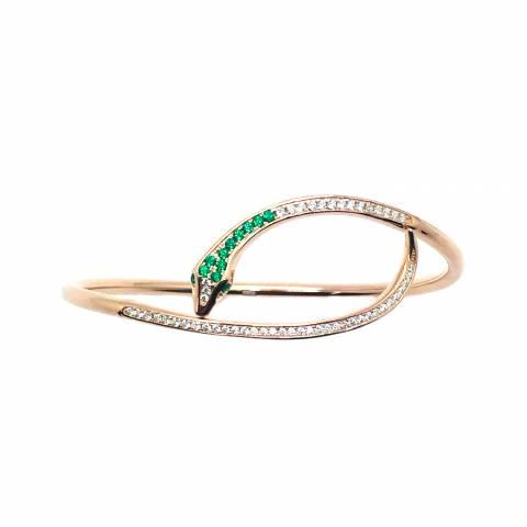 Bracciale rigido bangle argento 925 oro rosa Serpente Zirconi